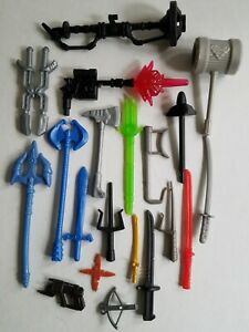 Fisher Price Imaginext Weapons Lot Swords Superman Hammer Guns Axes