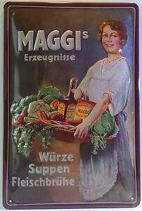MAGGI ´s ERZEUGNISSE , BLECHSCHILD 20 x 30 KÜCHE WÜRZE SUPPE