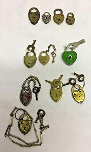 11 Vintage Heart Shaped Mini Locks Padlocks & 7 with Keys *