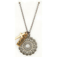 """Lovely Noble Woman Charm Pendant Antique Silver Gold Plate 22"""" L Chain Extender"""