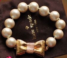 Kate Spade Bracelet All Wrapped Up in Pearls Gold Bow Jewelry Ivory