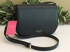 KATE SPADE NADINE MEDIUM FLAP SHOULDER BAG CROSSBODY BLACK LEATHER $279