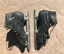 Vintage Leather Figure skates, steel blades, no brand or size