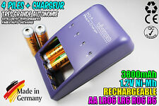 CHARGEUR VIVANCO CHARGER + 4 PILES ACCUS RECHARGEABLE NI-MH 1.2V AA 3800MAH LR06