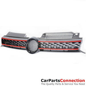 Bumper Upper Grille Front Mesh With Badge Black Red 2010-2014 VW GTI Wagon