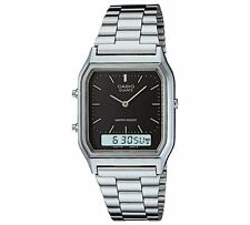 Casio Unisex AQ-230A-1DMQYES Analogue Digital Watch Silver Steel Band RRP£40 WOW