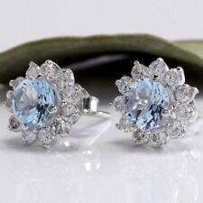 Women Elegant Natural Aquamarine Faux Gemstone Flower Ear Stud Earring Jewelry Z