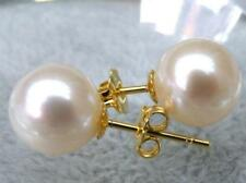 Stunning AAA+ natural 4-5mm White Round Akoya pearl earring 14K yellow gold