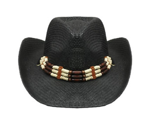 BLACK COWBOY Woven Straw HAT with Beads SHAPEABLE Cowboy Cowgirl Lightweight