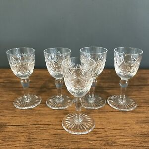 5 Vintage E & L Edinburgh  CRYSTAL Whisky Tot Dram Shot Glasses 8.5cm  ED145 vgc