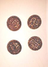 Vtg 4 Buttons for Sweater Jacket Goldtone  Square Lattice Textured 1 1/8""