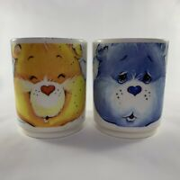 Set of 2 Vintage CARE BEARS DEKA Plastic Cups  Mugs Retro 80's Grumpy Funshine