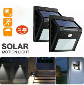 Outdoor LED Solar Wall Lights Power PIR Motion Sensor Garden Yard Path Lamp