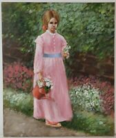 "Vintage Oil Painting on Canvas Woman in Garden Unframed Art Decor (24"" x 20"")"