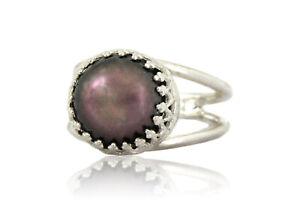 3.87ct Black Pearl June Birthstone Ring in 925 Sterling Silver Handmade Jewelry