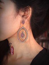 Boucles d`Oreilles Clous Ethnic Ovale Rose Pale  Mini Perle Vintage Art Deco