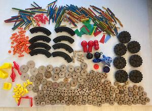 Vintage Tinker Toys 7 Lb Huge Lot! Wooden spools rods Wheels Construction Set!