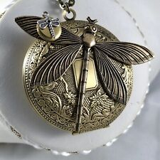 Art Nouveau Pill Stash Box Brass Double 2 Dragonfly Lrg Vtg Locket Necklace