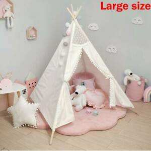Large Canvas Kids Teepee White Tent Childs  Indoor Outdoor Play House Gift