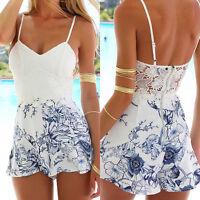 Women V-Neck Sleeveless Jumpsuit Floral Casual Summer Beach Romper Shorts US