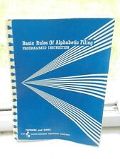 Vintage 1965 Basic Rules of Alphabetic Filing Office School Textbook Book