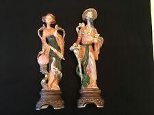 "Pair of Lenwile Ardalt Japan Man & Woman Porcelain 16"" Figurines 6032A/60332B"