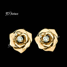 18K YELLOW GOLD GF STUD MADE WITH SWAROVSKI CRYSTAL ROSE FLOWER EARRINGS