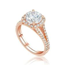 1.30 Ct D/SI1 Round Cut Real Diamond Engagement Ring 14K Rose Gold
