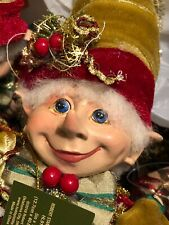 """NEW CHRISTMAS PIXIE ELF 18"""" DECORATIVE WIREFRAME DOLL STYLE A - GOLD HAT"""