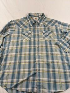 Ely Cattleman Mens Big Man Pearl Snap Western 3XL Long Sleeve Shirt 19 1/2 x 36