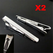 2PCS Mens Silver Metal Simple Practical Plain Necktie Tie Clip Bar Clasp Fast US