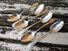 6 grandes cuillères métal argenté décor 1930