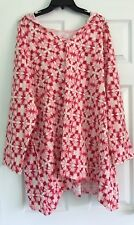 Woman Within Women's Plus Size1X Pink Floral Hoodie Long Sleeve Cotton Top NWOT