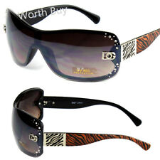 New DG Shield Womens Rhinestones Sunglasses Shades Fashion Brown Zebra Print