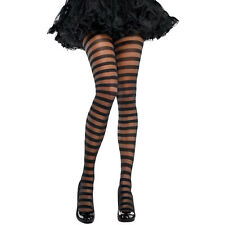Womens Striped Fancy Dress Tights Costume Accessory - Black Halloween Stripe