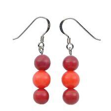 Pendientes Colgantes de Coral & Plata 925, rojo & naranja, para señoras