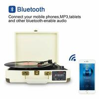 3-Speed Bluetooth Suitcase Record Player Turntable  FM Radio/USB to MP3 Recorder