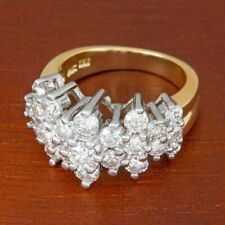 Solid 2.08 Ct Round Cut Simulated Moissanite Wedding Ring 14K Yellow Gold Over