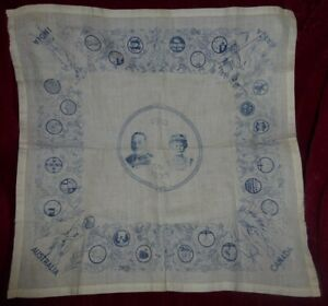 King George V & Queen Mary SILVER JUBILEE HANDKERCHIEF British Empire Royal Ware