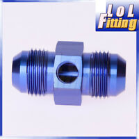 """AN-10 AN10 to AN10 Male with 1/8"""" NPT Port Fuel Oil Pressure Gauge Adapter Blue"""