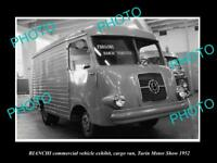 OLD LARGE HISTORIC PHOTO OF 1952 BIANCHI AUDAX VAN TURIN MOTOR SHOW DISPLAY