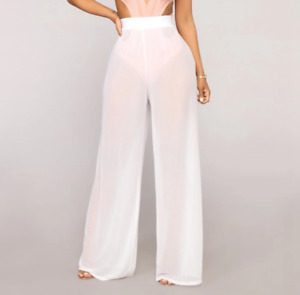 Women's Mesh Sheer Bikini Cover Up Trouser See Through Beach Pants Black/White