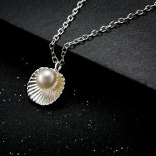 Gold Plated GP Shell Pear Pendant Chain Woman Wedding Necklace N498
