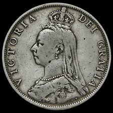 1891 Queen Victoria Jubilee Head Silver Florin, Very Rare, GF / AVF
