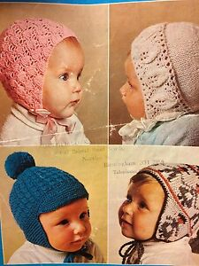 Boys And Girls Baby Bonnet And 2x Toddler Hats Knitting Pattern