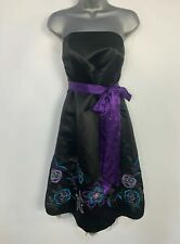WOMENS DEBUT BLACK PURPLE BELT PARTY WEDDING CRUISE OCCASION DRESS SIZE UK 12