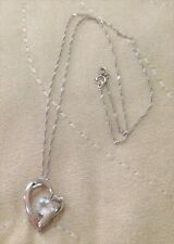 APPEALING PRELOVED STERLING SILVER HEART NECKLACE w DIAMANTE - ITALY