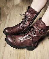 Fashion Womens Punk Gothic Lace up Rivet Buckle Mid-Calf Combat boots Plus  Size