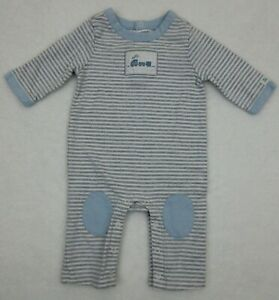 JANIE AND JACK - Boy's One Piece Gray Stripe Train Outfit 0-3 mos