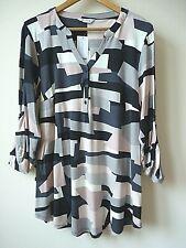 New Ex Evans Multi colour Geometric Print Jersey Top Blouse Shirt Plus Size18-28